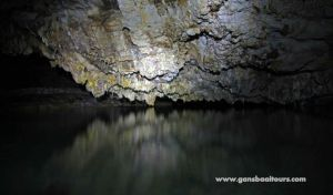 Large fresh water pool inside the caves